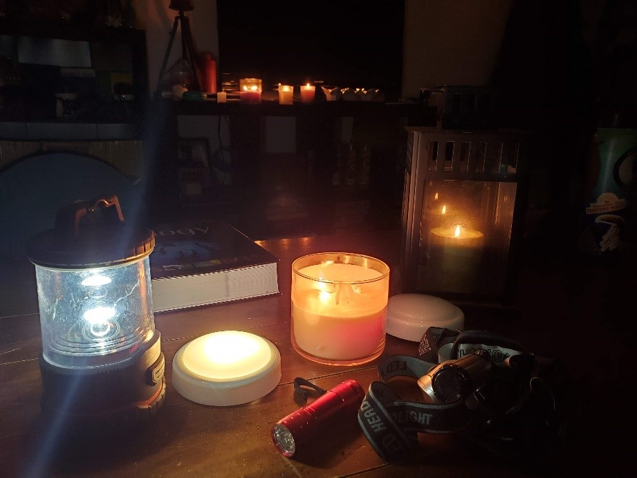 Flashlights, candles, and headlamps are useful during any power outage.